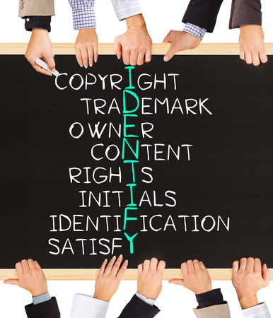 authorship: Photo of business hands holding blackboard and writing IDENTIFY concept Stock Photo