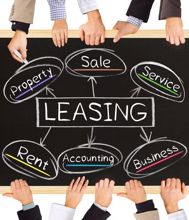 Leasing: Photo of business hands holding blackboard and writing LEASING diagram Stock Photo