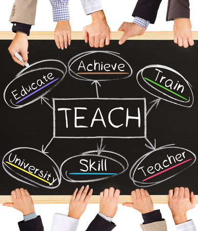 teach: Photo of business hands holding blackboard and writing TEACH diagram