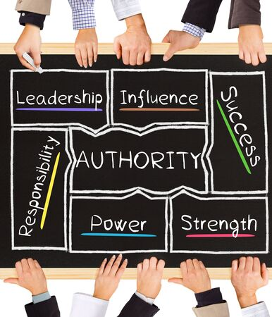 authority: Photo of business hands holding blackboard and writing AUTHORITY diagram