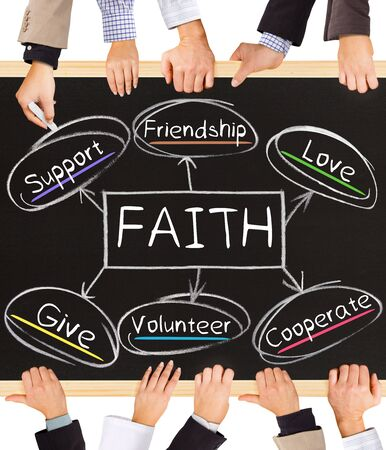 generous: Photo of business hands holding blackboard and writing FAITH diagram Stock Photo