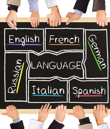 hand language: Photo of business hands holding blackboard and writing LANGUAGE diagram Stock Photo