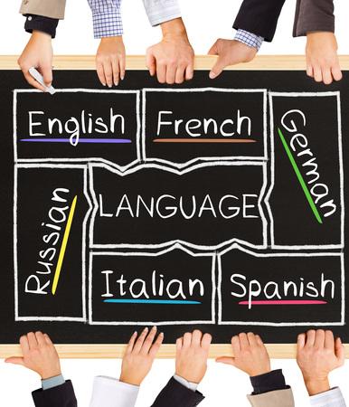 language: Photo of business hands holding blackboard and writing LANGUAGE diagram Stock Photo