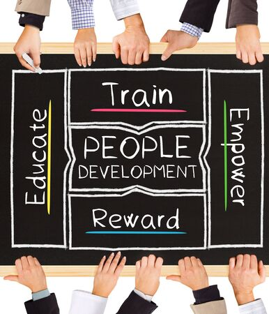 supervise: Photo of business hands holding blackboard and writing PEOPLE DEVELOPMENT diagram