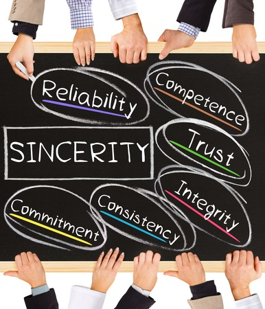 sincerity: Photo of business hands holding blackboard and writing SINCERITY diagram