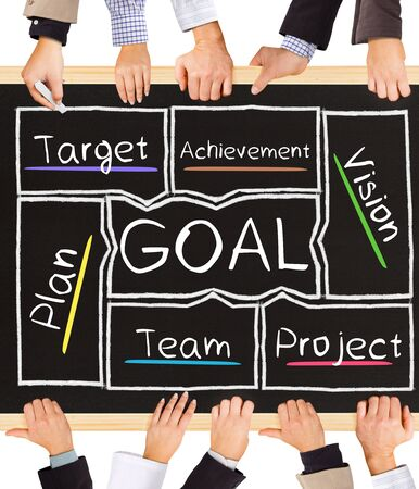 projet: Photo of business hands holding blackboard and writing GOAL diagram