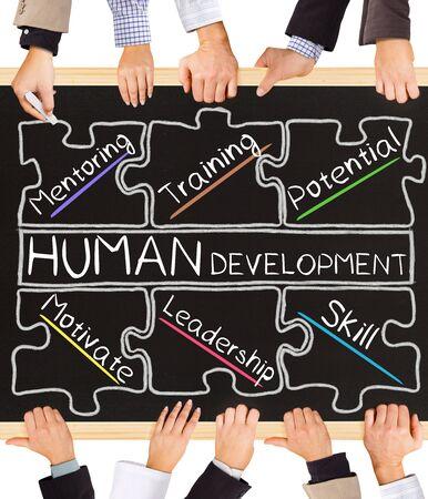 human development: Photo of business hands holding blackboard and writing HUMAN DEVELOPMENT diagram