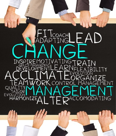 management concept: Photo of business hands holding blackboard and writing CHANGE management word cloud Stock Photo