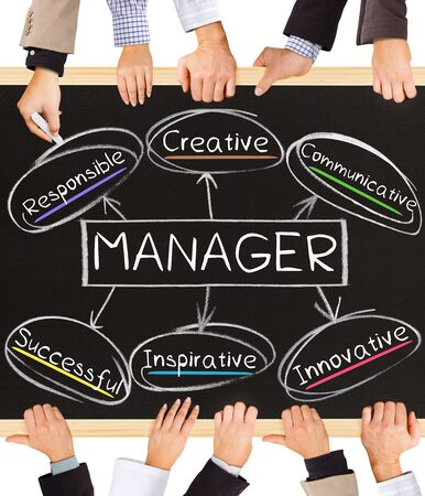 role models: Photo of business hands holding blackboard and writing MANAGER diagram