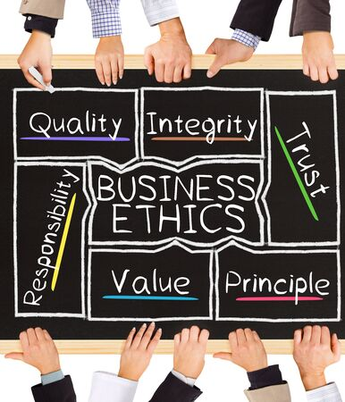 etica: Photo of business hands holding blackboard and writing BUSINESS ETHICS diagram