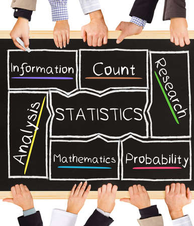 probability: Photo of business hands holding blackboard and writing STATISTICS concept