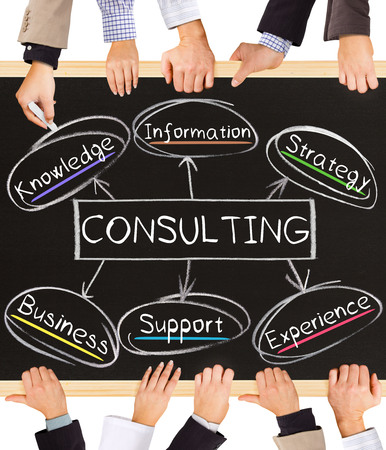 consultant: Photo of business hands holding blackboard and writing CONSULTING concept Stock Photo