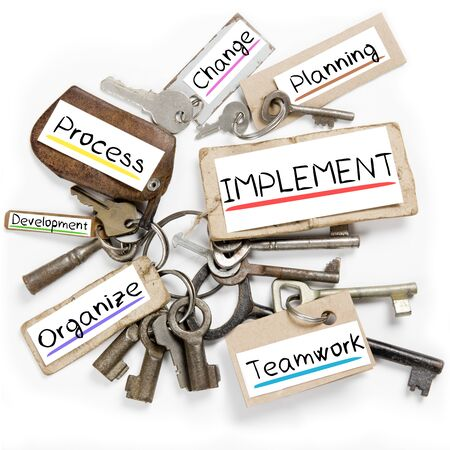 implement: Photo of key bunch and paper tags with IMPLEMENT conceptual words Stock Photo