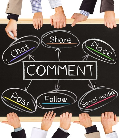 share information: Photo of business hands holding blackboard and writing COMMENT concept