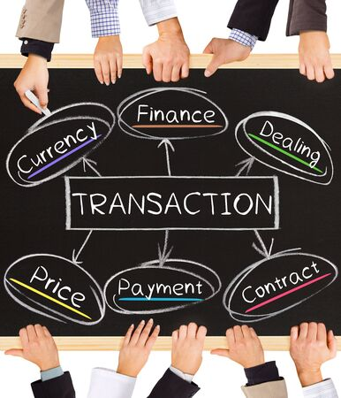 transactions: Photo of business hands holding blackboard and writing TRANSACTION diagram Stock Photo