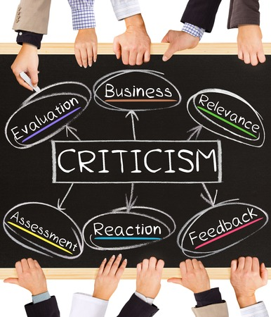 relevance: Photo of business hands holding blackboard and writing CRITICISM concept