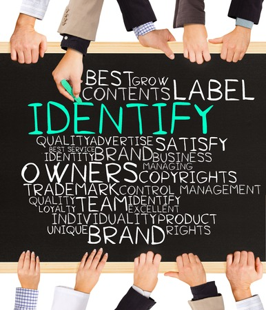 authorship: Photo of business hands holding blackboard and writing IDENTIFY word cloud Stock Photo