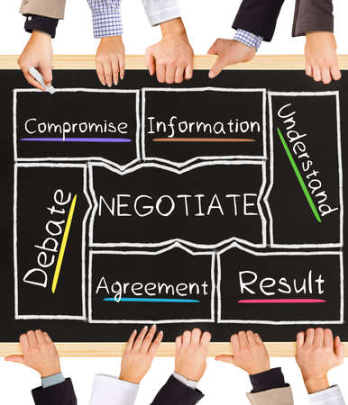 negotiate: Photo of business hands holding blackboard and writing NEGOTIATE diagram