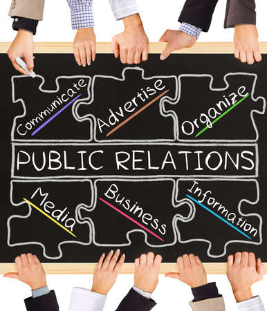 relate: Photo of business hands holding blackboard and writing PUBLIC RELATIONS diagram