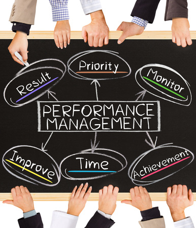 management concept: Photo of business hands holding blackboard and writing PERFORMANCE MANAGEMENT concept