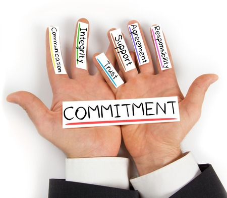 light duty: Photo of hands holding paper cards with COMMITMENT concept words