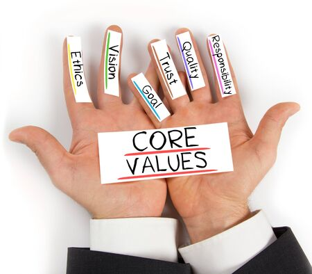 mission: Photo of hands holding paper cards with CORE VALUES concept words