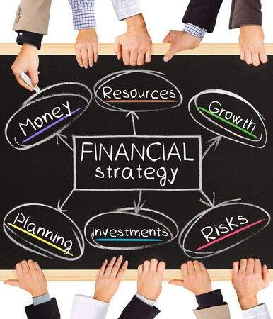basic scheme: Photo of business hands holding blackboard and writing FINANCIAL strategy diagram