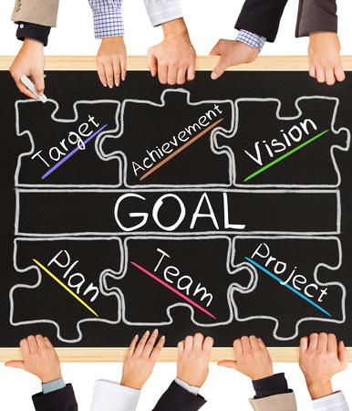 metas: Foto de las manos de negocios la celebración de pizarra y escribir diagrama META