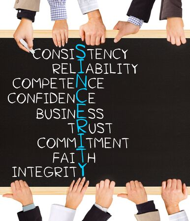 the sincerity: Photo of business hands holding blackboard and writing SINCERITY concept
