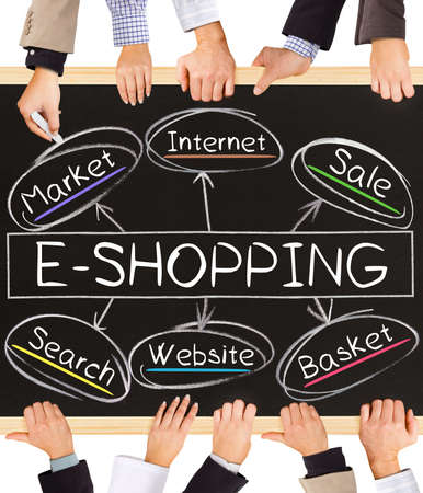 ecommerce: Photo of business hands holding blackboard and writing E-SHOPPING concept
