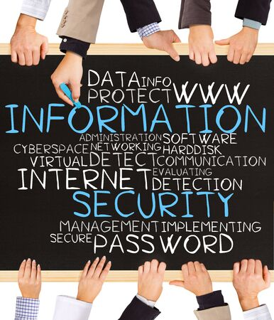 information: Photo of business hands holding blackboard and writing INFORMATION SECURITY concept