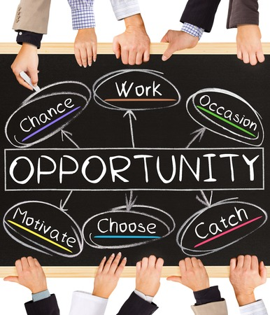 opportunity discovery: Photo of business hands holding blackboard and writing OPPORTUNITY concept Stock Photo