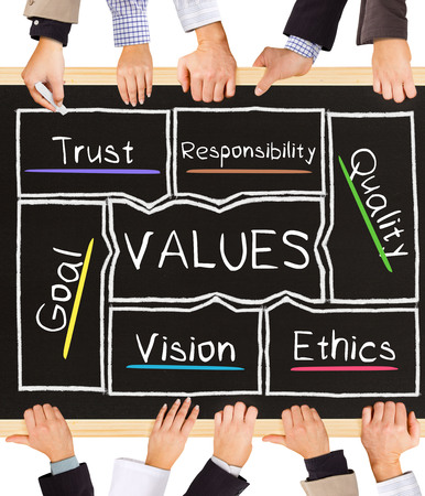 accountability: Photo of business hands holding blackboard and writing VALUES concept