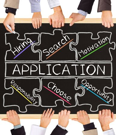 recruit help: Photo of business hands holding blackboard and writing APPLICATION concept