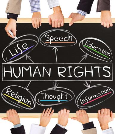 Foto von Business-Hände Tafel halten und Schreiben von HUMAN RIGHTS Konzept Standard-Bild - 50376887