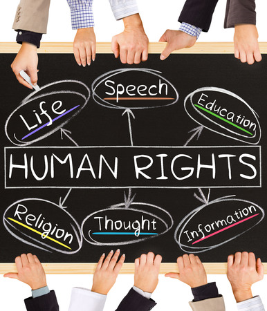 Photo of business hands holding blackboard and writing HUMAN RIGHTS concept Stock Photo