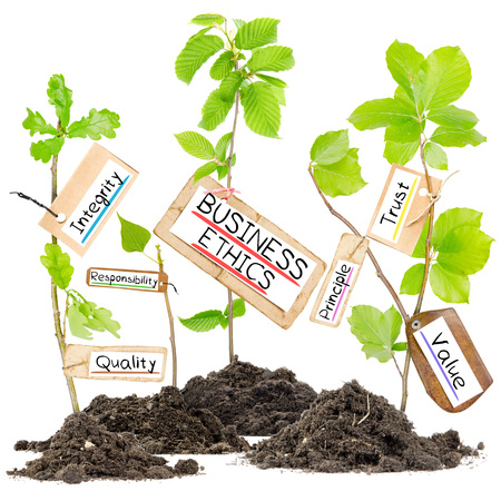 corporate responsibility: Photo of plants growing from soil heaps with BUSINES ETHICS conceptual words written on paper cards