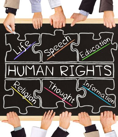 political and social issues: Photo of business hands holding blackboard and writing HUMAN RIGHTS concept Stock Photo