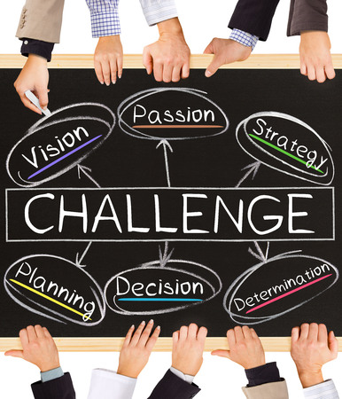 business challenge: Photo of business hands holding blackboard and writing CHALLENGE concept