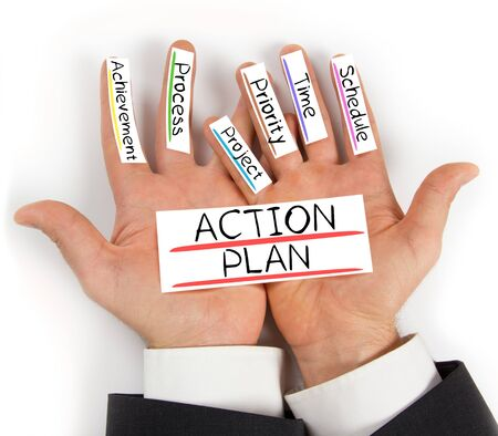 plan de accion: Photo of palms with ACTION PLAN conceptual words written on paper cards
