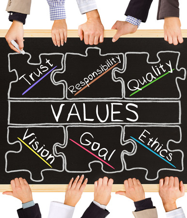 values: Photo of business hands holding blackboard and writing VALUES concept