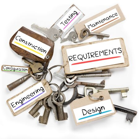 Photo of key bunch and paper tags with REQUIREMENTS conceptual words