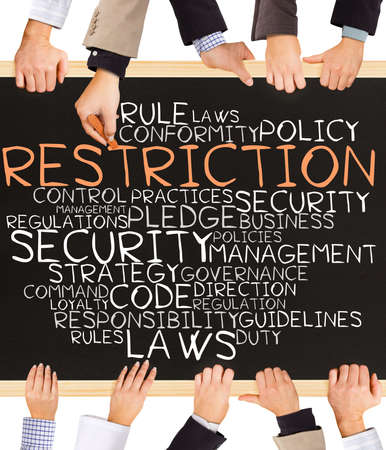 restriction: Photo of business hands holding blackboard and writing RESTRICTION concept Stock Photo