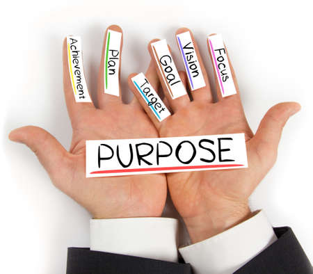 Photo of hands holding paper cards with PURPOSE concept words Stock Photo