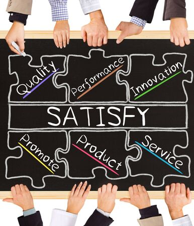 satisfy: Photo of business hands holding blackboard and writing SATISFY concept