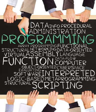 Photo of business hands holding blackboard and writing PROGRAMMING concept