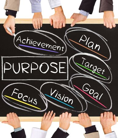 Photo of business hands holding blackboard and writing PURPOSE concept Stock Photo