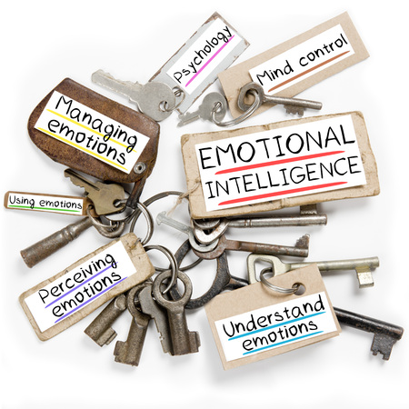 Photo of key bunch and paper tags with EMOTIONAL INTELLIGENCE conceptual words Standard-Bild
