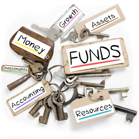 Photo of key bunch and paper tags with FUNDS conceptual words