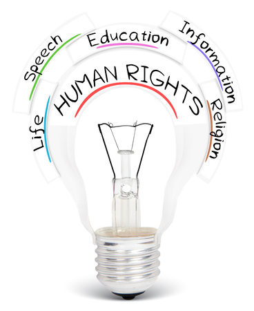 freedom of thought: Photo of light bulb with HUMAN RIGHTS conceptual words isolated on white Stock Photo